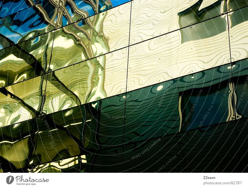 psychedelic Soul Window Facade Glas facade Geometry Green Yellow Pattern Waves Flow Graphic Multicoloured Abstract Things Crazy Window pane Reflection Glass