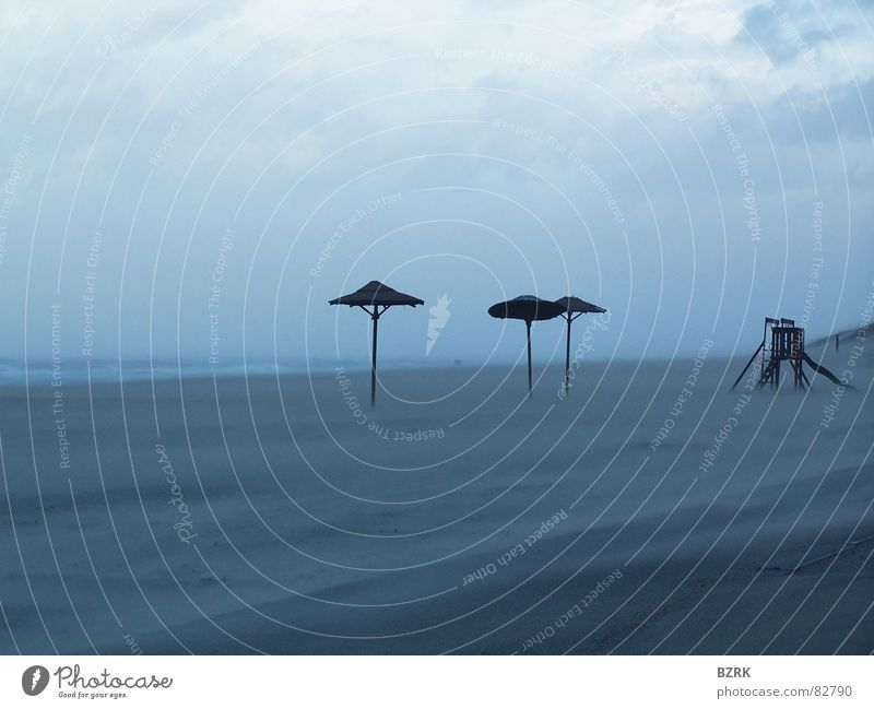 Storm at the beach 2 Beach Gale Sunshade Ocean storm Sand parasol Weather protection Wind