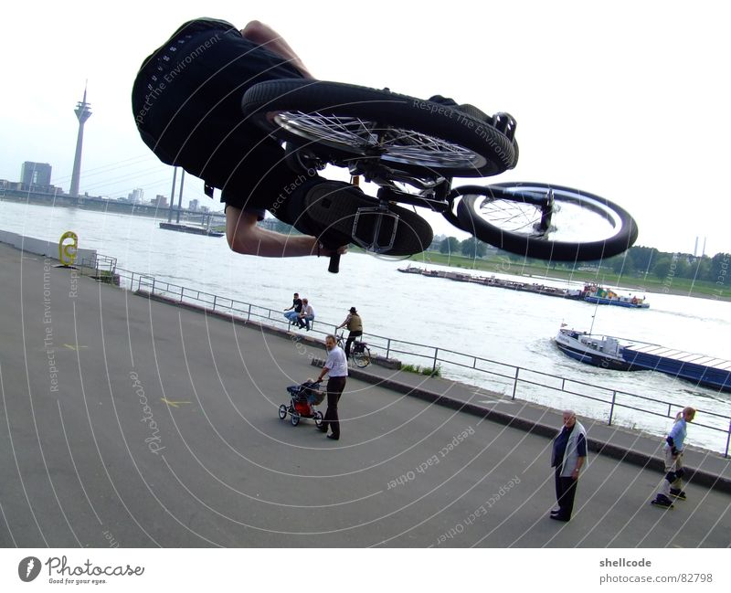 Human being Joy Sports Duesseldorf Rhine North Rhine-Westphalia BMX bike Bicycle Rheinturm Air