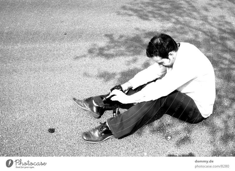 The Photographer Man Black White Cone Tripod zdenek Human being Black & white photo Sit Floor covering Camera Sun Beautiful weather