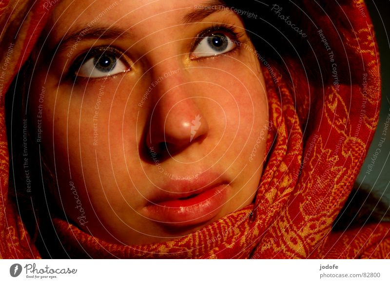 Woman Red Face Eyes Yellow Emotions Head Warmth Religion and faith Mouth Skin Nose Hope Safety Lips Physics