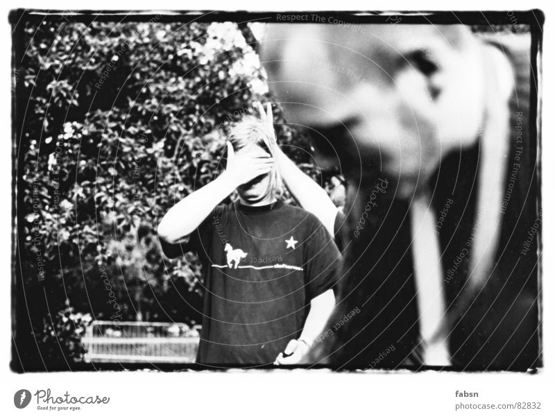 Man Young man Eyes Playing Masculine Fear Music T-shirt Ear Shirt Concert Boredom Stupid Spoon Blind Followers