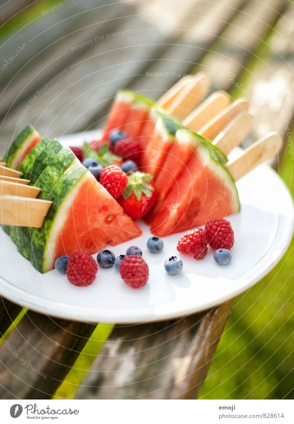 Melon on a stick Fruit Nutrition Picnic Organic produce Vegetarian diet Finger food Fresh Healthy Delicious Natural Sweet Water melon Colour photo Exterior shot
