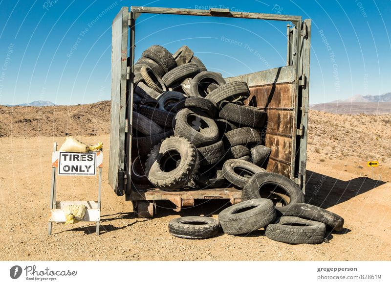 Old truck tires. Environment Industry Trash Tire Means of transport