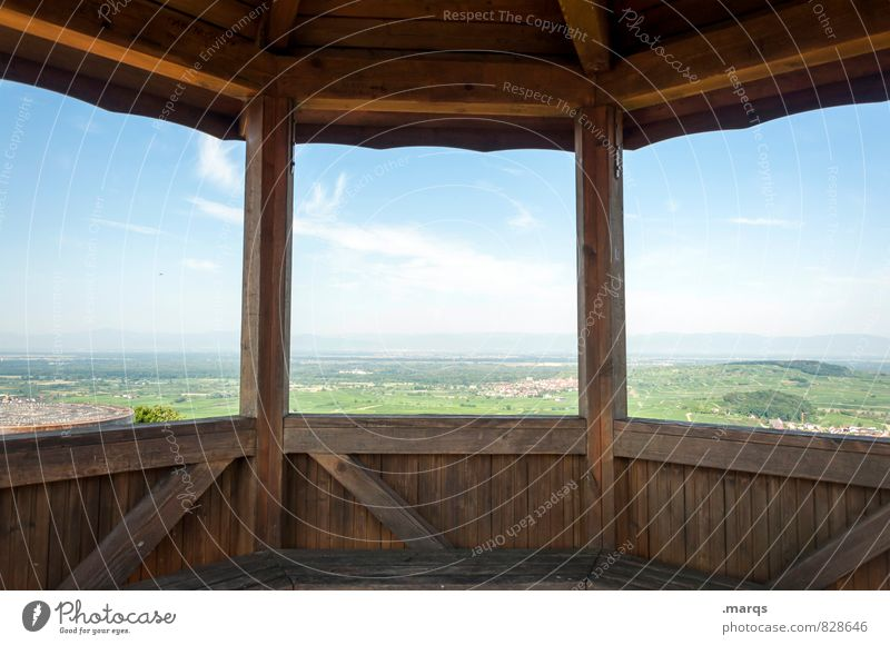resting place Trip Adventure Far-off places Freedom Nature Landscape Sky Clouds Horizon Summer Beautiful weather Field Hill Pavilion Relaxation Hiking Bright
