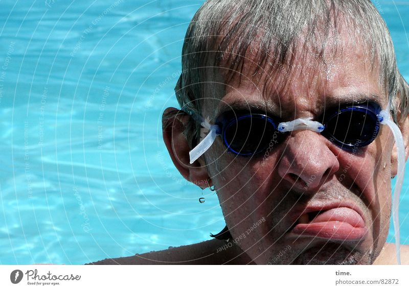Cool in the pool - II Sunrise Sunset Joy Face Well-being Swimming & Bathing Summer Sunbathing Swimming pool Man Adults Ear Nose Water Eyeglasses To enjoy