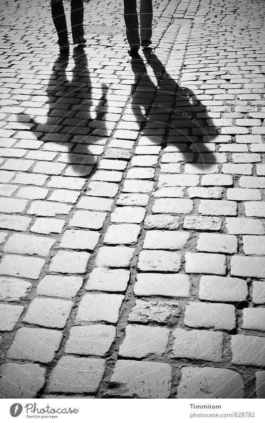 On my way. Human being 2 Town Street Pants Footwear Paving stone Shadow Silhouette Stone Line Going To talk Esthetic Simple Gray Black Emotions Serene