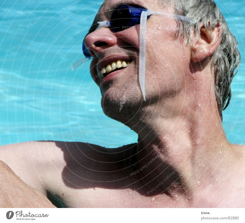 Cool in the pool - IV Sunrise Sunset Upper body Joy Face Well-being Swimming & Bathing Summer Sunbathing Swimming pool Man Adults Ear Nose Water Eyeglasses