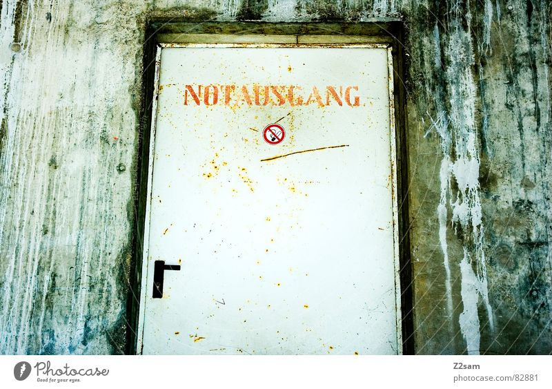 please don't smoke - emergency exit! Needy Emergency exit Way out Entrance Door handle Wall (building) Factory Smoking Cigarette Signs and labeling Non-smoker