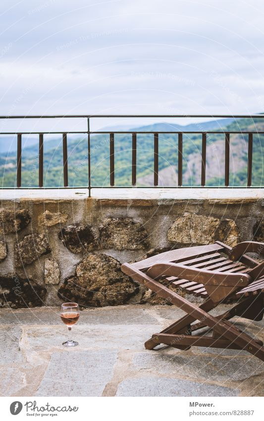 Vacation & Travel Summer Relaxation Far-off places Forest Mountain Glass Trip Vantage point Drinking Alps Chair Wine Balcony Fluid Banister