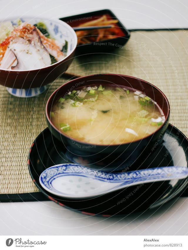 miso soup Food Fish Seafood Vegetable Lettuce Salad Soup Stew Soya sauce crab meat Japan Nutrition Dinner Sushi Asian Food Appetizer Gastronomy Deserted