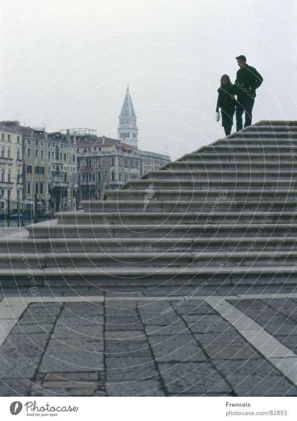 Vacation & Travel Couple Stairs In pairs Tourism Tower Italy Venice Tuscany Sewer House of worship Church spire Campanile Basilica San Marco