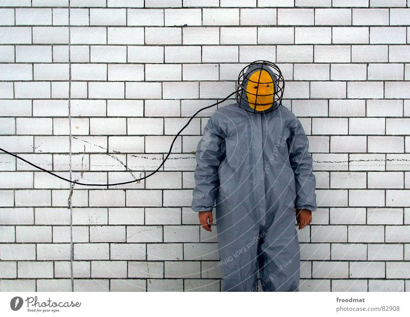 Red Joy Yellow Wall (building) Gray Art Funny Crazy Cable Mask Tile Suit Stupid Surrealism Rubber Futile