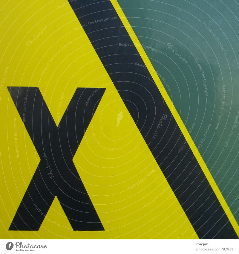 NIX TITLE Latin alphabet Yellow Black Green Wall (building) Adhesive Label Stick Stuck on Warning label Warning sign Dangerous Geometry 3 Symbols and metaphors