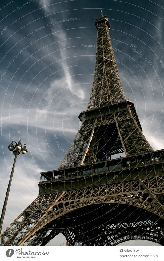 Sky Art Tourism France Paris Lantern Steel Monument Landmark Tourist Attraction Eiffel Tower