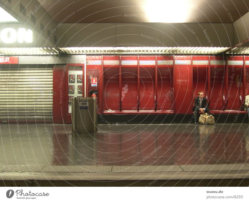 nation Paris Underground Red Night Deserted Platform France Artificial light Neon light Transport Wait