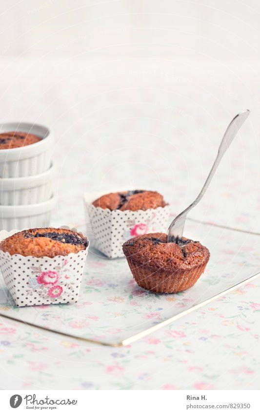 White Bright Pink Sweet Delicious Plate Baked goods Dough Fork Muffin Flowery pattern Baking tin