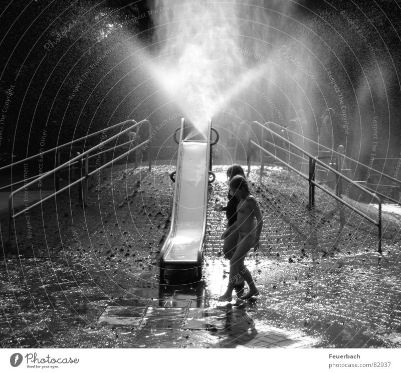 Water playground_01 Black & white photo Exterior shot Light Shadow Contrast Playing Summer Climbing Mountaineering Child Infancy 2 Human being 8 - 13 years Fog