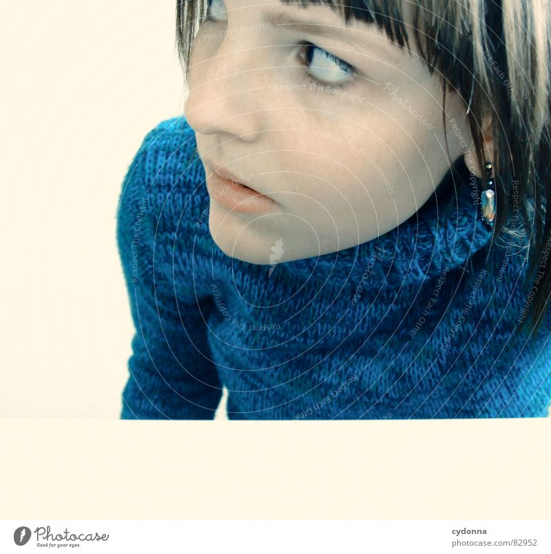 Self-timer found VII Woman Emotions Hair and hairstyles Style Portrait photograph Release Playing Think Behavior Scare Human being have a look weighing crouched