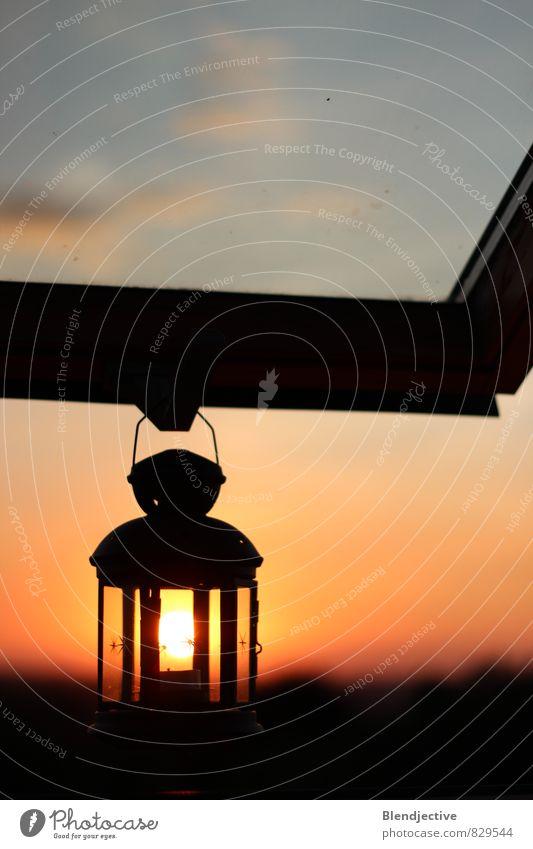 Summer Sun Relaxation Calm Window Lamp Horizon Orange Idyll Decoration Glass To enjoy Lantern Serene Dusk Visual spectacle