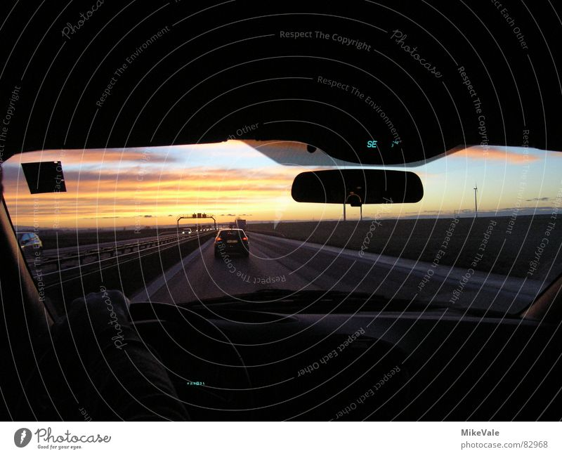 on the road again Light Sunrise Driving Vacation & Travel Wanderlust South Morning Evening Mirror Rear view mirror Transport jostling left lane Stairs Car