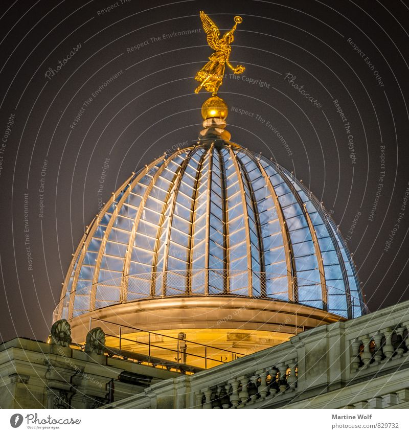 lemon squeezer Dresden Saxony Germany Europe Old town Tourist Attraction Vacation & Travel Light Lighting Domed roof Colour photo Exterior shot Deserted Night