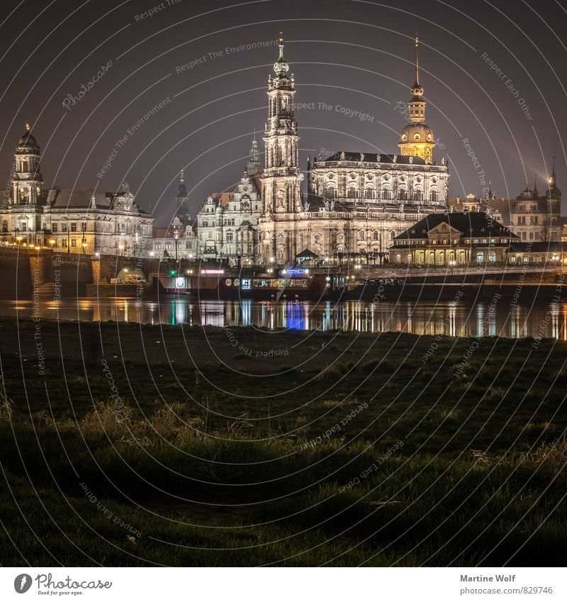 Dresden squared Saxony Germany Europe Town Downtown Old town Tourist Attraction Vacation & Travel Night Lighting Reflection Colour photo Exterior shot Deserted
