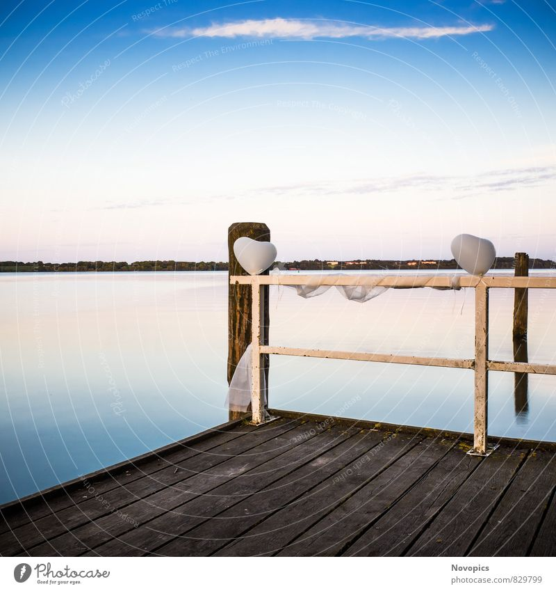 landing stage with balloons Calm Nature Landscape Water Clouds Lake Heart Blue Emotions Moody Footbridge groynes Sky silent sea jetty groin cloud silence