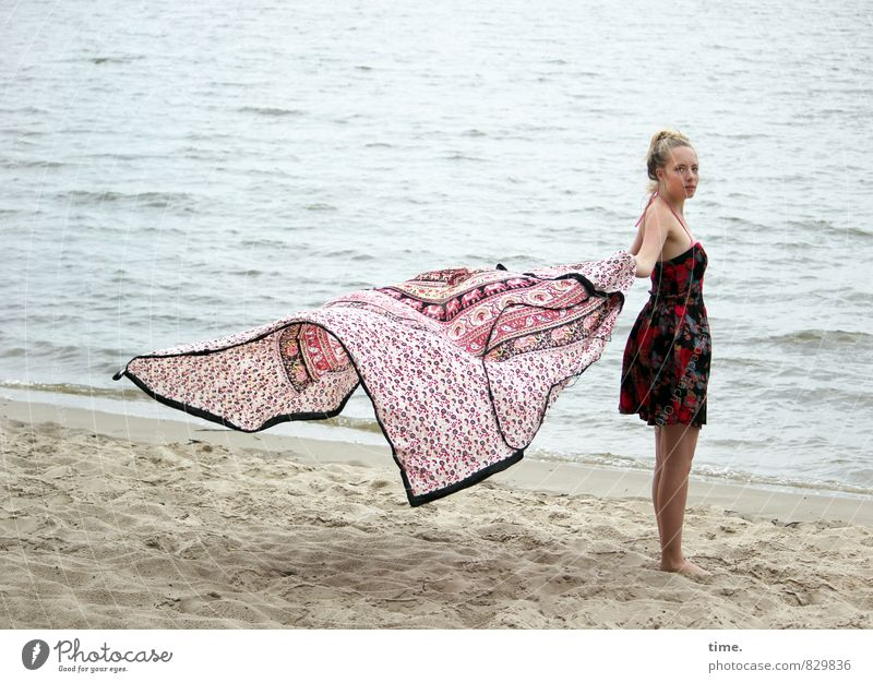Water Beach Life Feminine Coast Flying Sand Free Elegant Waves Blonde Wind Stand Dance Creativity Joie de vivre (Vitality)