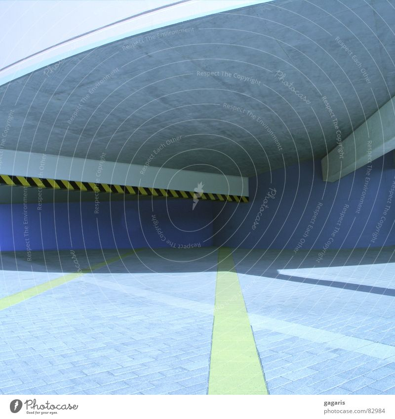 blue house Parking garage Abstract Formal Concrete Ramp Spiral Expressway exit Manipulation Yellow Architecture Crazy Blue