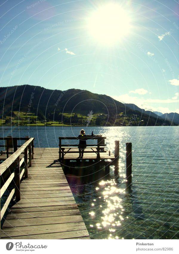 Water Beautiful Sun Summer Mountain Happy Wood Warmth Wait Bench Vantage point Physics Clarity Hot Footbridge