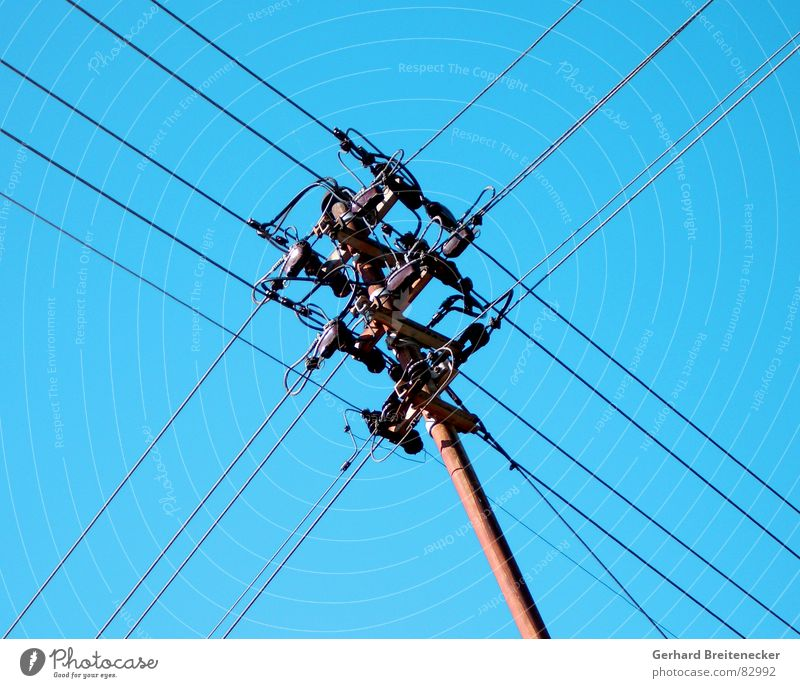 Sky Blue Industry Energy industry Electricity Technology Cable Net Conduct Tension Electricity pylon Wire Mixture Muddled Transmission lines Interlaced