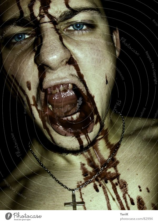 Red Eyes Dark Death Brown Back Nutrition Dirty Mouth Teeth Creepy Anger Turquoise Scream Evil Facial expression