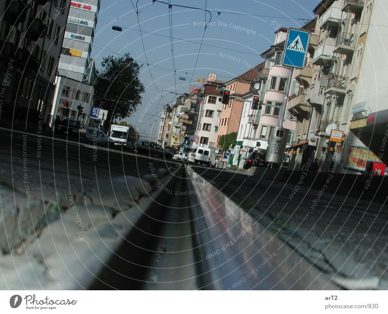 Street Railroad tracks Tram Zoom effect Photographic technology