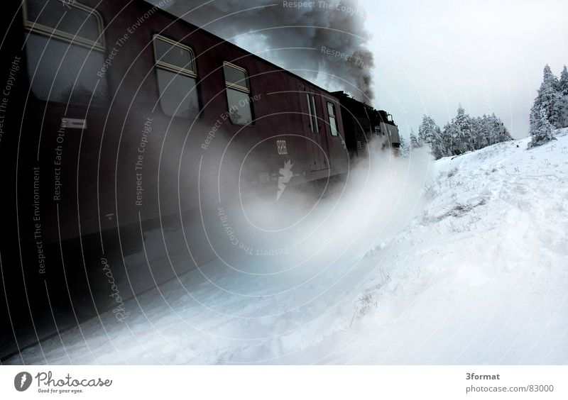 Vacation & Travel Winter Far-off places Cold Snow Ice Speed Trip Blaze Railroad Frost Romance Railroad tracks Smoke Wanderlust Steam
