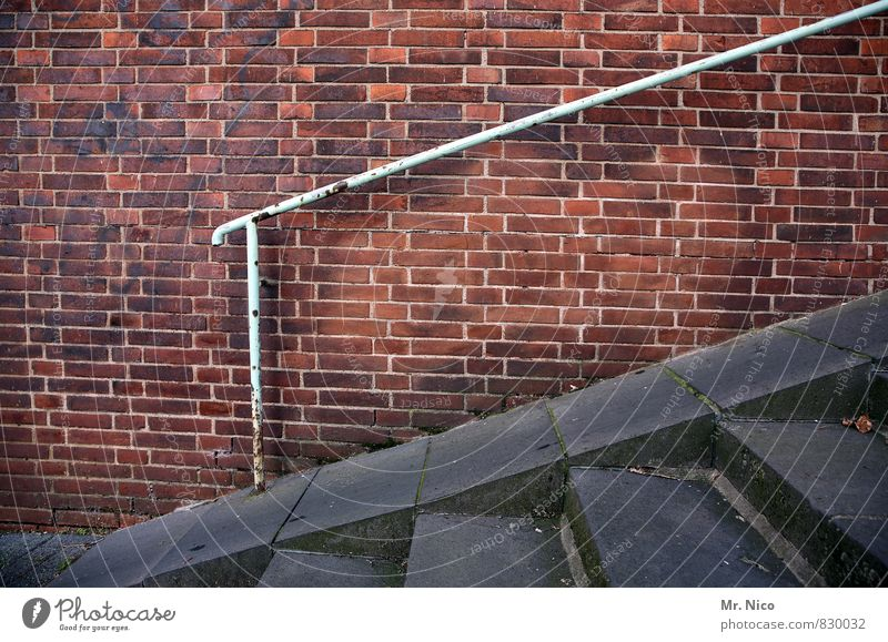It's going up Town Places Architecture Wall (barrier) Wall (building) Stairs Facade Pedestrian Lanes & trails Bridge Red Upward Downward Banister Handrail Steep