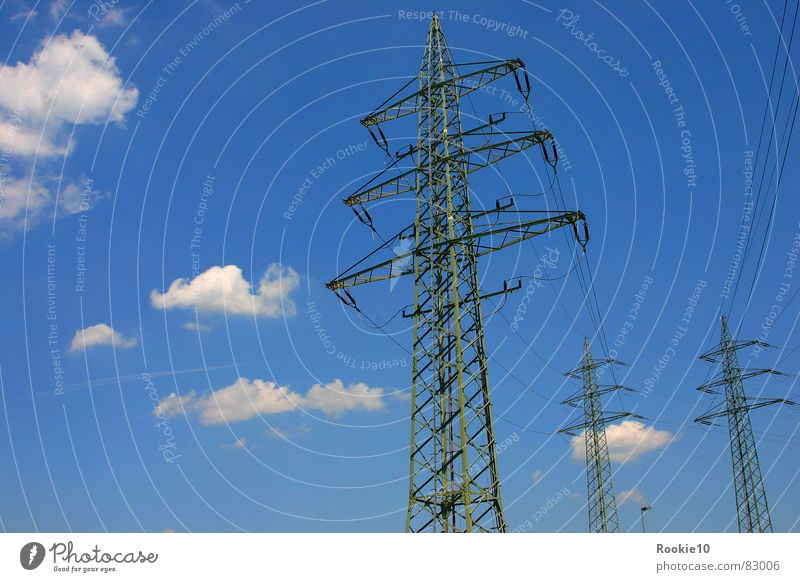 giants Electricity Clouds Air Electrical equipment Technology foreign bodies Nature Advancement more disturbed Sky stringer Blue