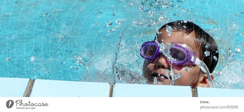 Child Blue Water Summer Joy Cold Boy (child) Gray Swimming & Bathing Wet Fresh Cool (slang) Eyeglasses Soft Swimming pool To enjoy