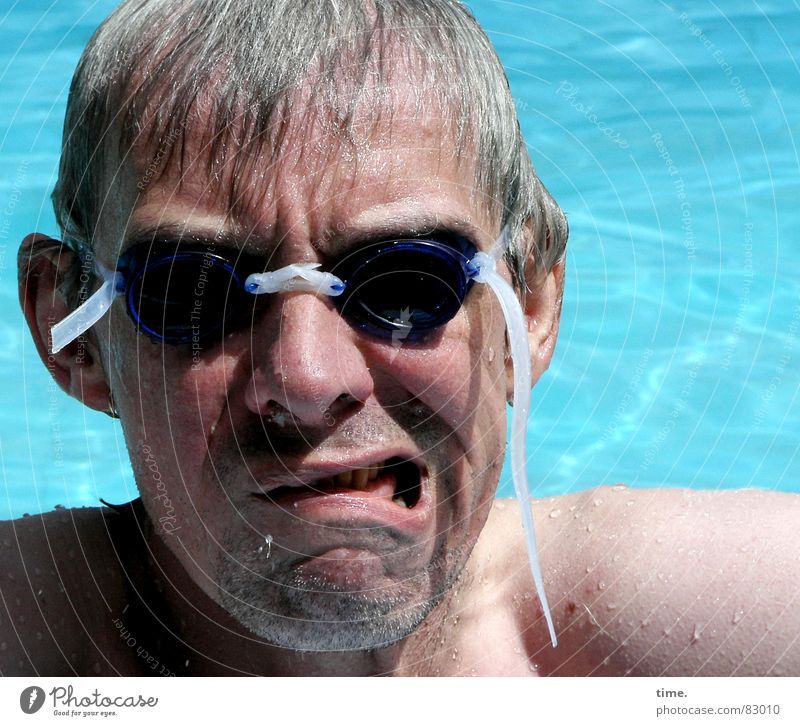 Cool in the pool - VI Sunrise Sunset Upper body Joy Face Well-being Swimming & Bathing Summer Sunbathing Aquatics Swimming pool Man Adults Ear Nose Water
