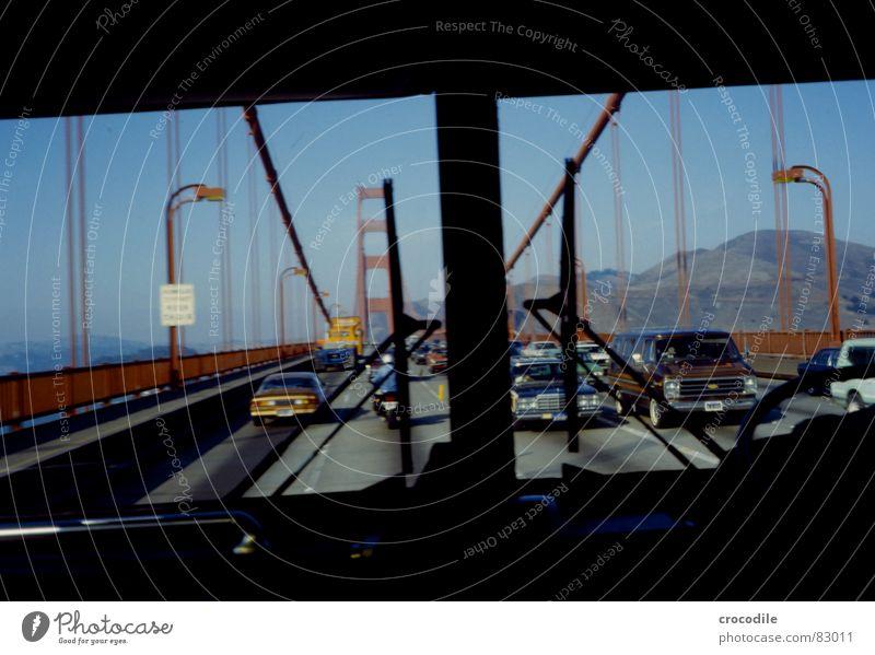 Golden Gate Monumental Lake California Driving Longing Window Iron Steel Americas Ocean Coast Traverse San Francisco USA Construction steel Bus Bridge pier