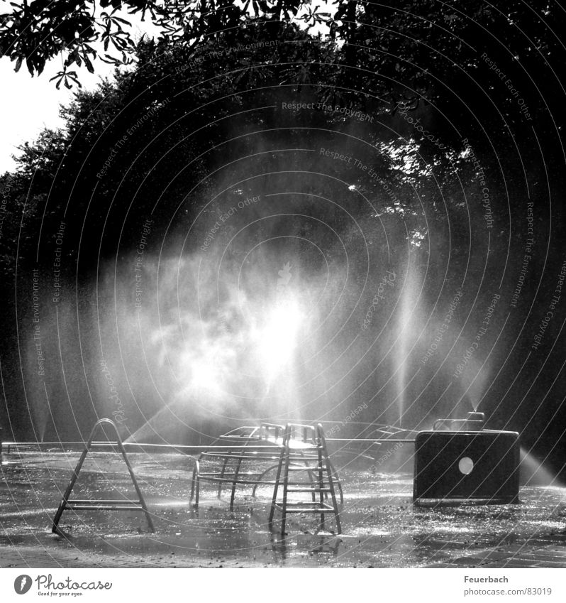 Water playground_02 Black & white photo Exterior shot Deserted Light Shadow Contrast Reflection Summer Fog Warmth Town Playground Toys Romp Cool (slang) Cold