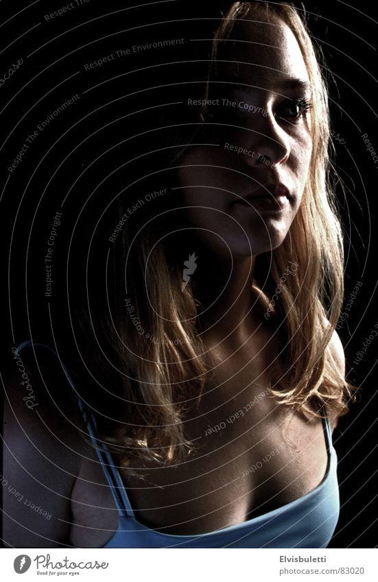 Feel the space... Silhouette Portrait photograph Woman Light Think Black Blonde Half-profile Shadow