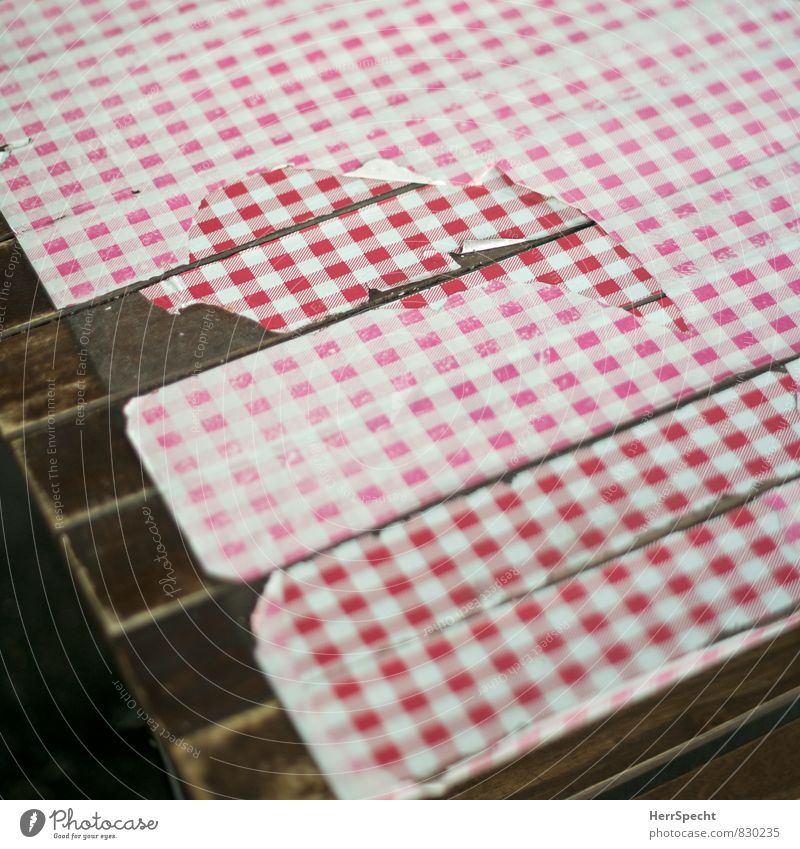Eye eats with Table Restaurant Wood Broken Trashy Gloomy Brown Red White Checkered Tablecloth Table decoration Wooden table Torn Remainder Gastronomy