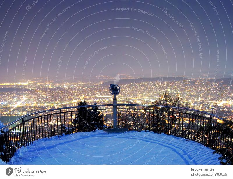 City Winter Snow Large Perspective Clarity Switzerland Middle Skyline Vantage point Zurich Platform Telescope Review City light