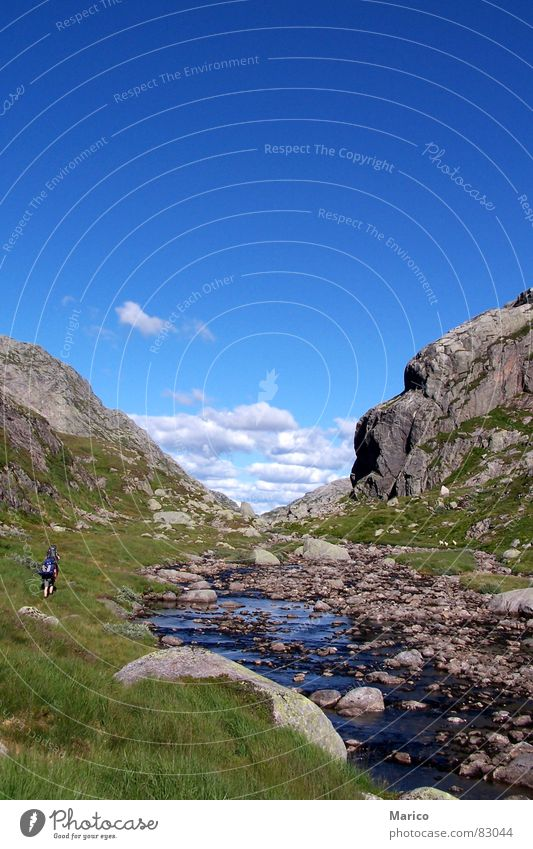 Sky Mountain Stone Hiking Rock Brook Norway Scandinavia Backpack