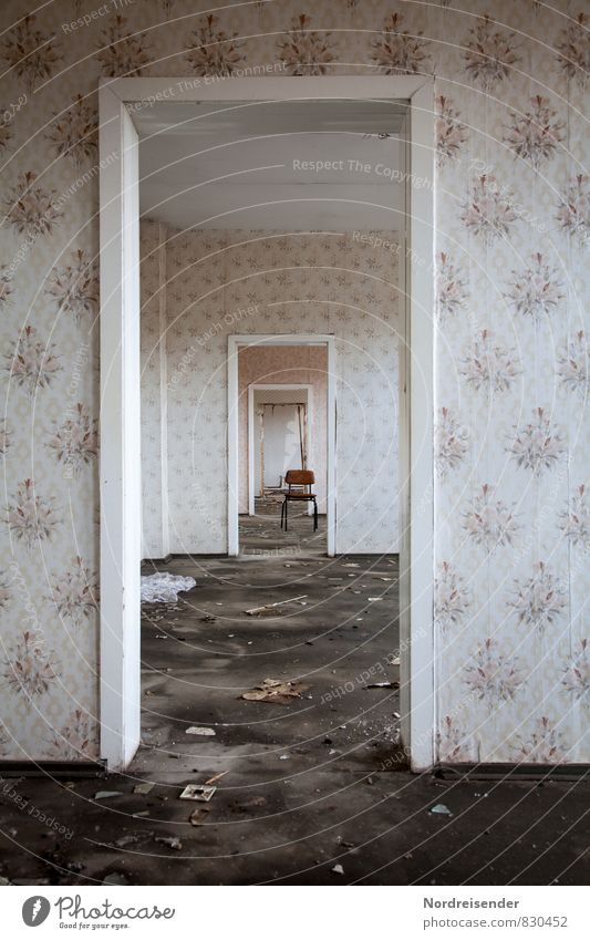 Holes in time... Redecorate Interior design Chair Wallpaper Room Deserted House (Residential Structure) Ruin Building Architecture Wall (barrier)
