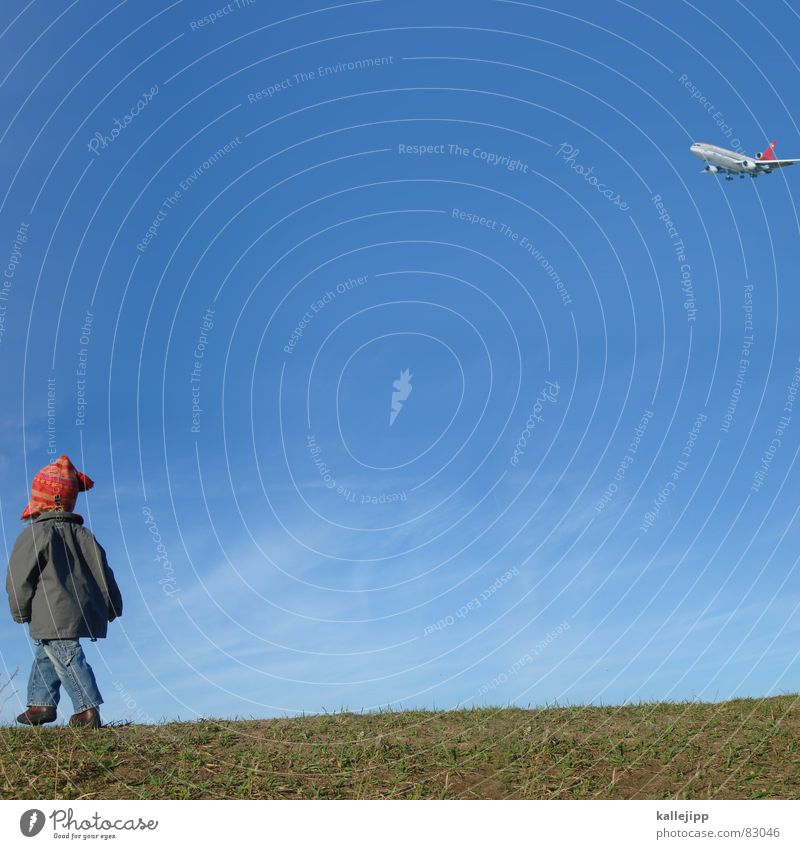 Child Nature Sky Green Joy Autumn Meadow Grass Footwear Small Airplane Going Environment Jeans Target Jacket