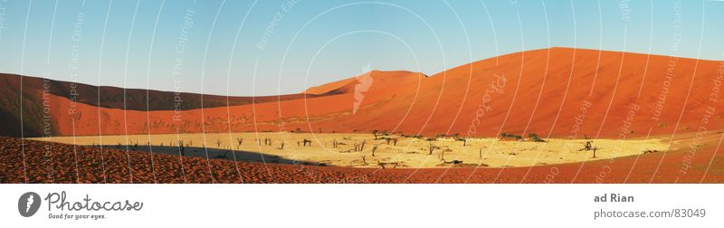 Red Far-off places Yellow Warmth Sand Brown Africa Desert Hot Hill Beige Blue sky Drought Badlands Namibia Copy Space