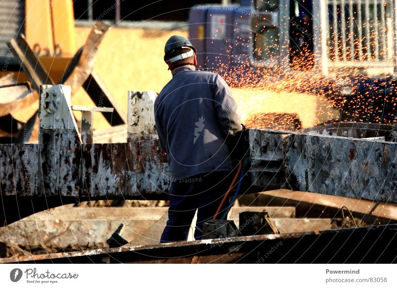Construction site Machinery Derelict Services Craft (trade) Helmet Dismantling Working man Recycling Welding Steel carrier Building lot Welder
