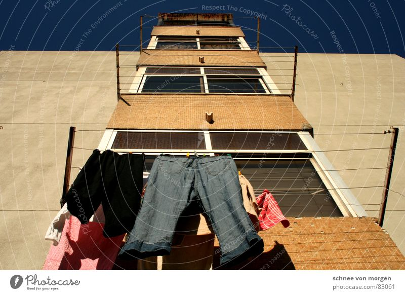 Sky Blue House (Residential Structure) Window Rope Clothing Arrangement Jeans Clean Pure Cleaning Pants To hold on Shirt Hang Laundry